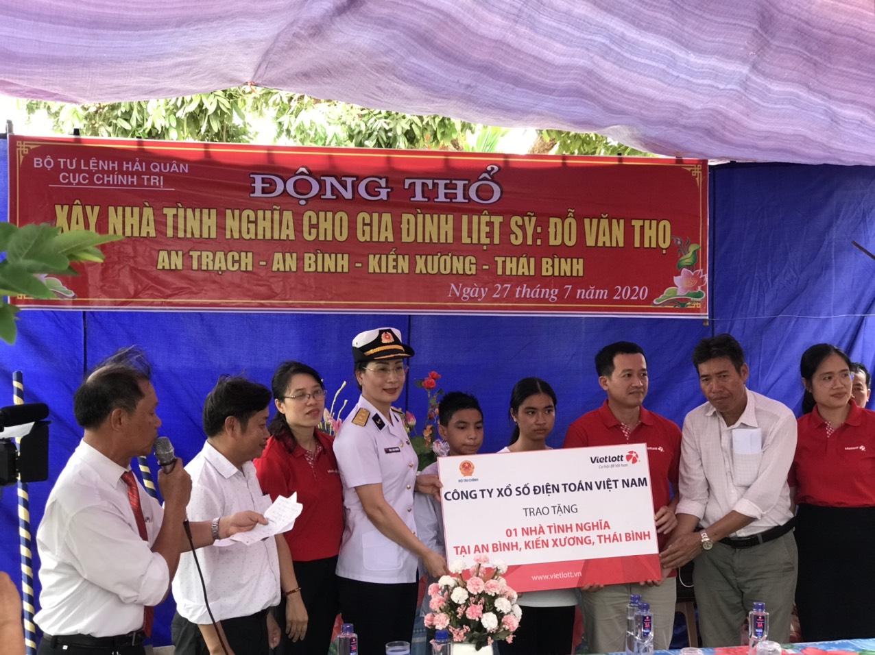Vietlott trao tặng 01 nhà tình nghĩa  cho gia đình liệt sĩ tại Thái Bình