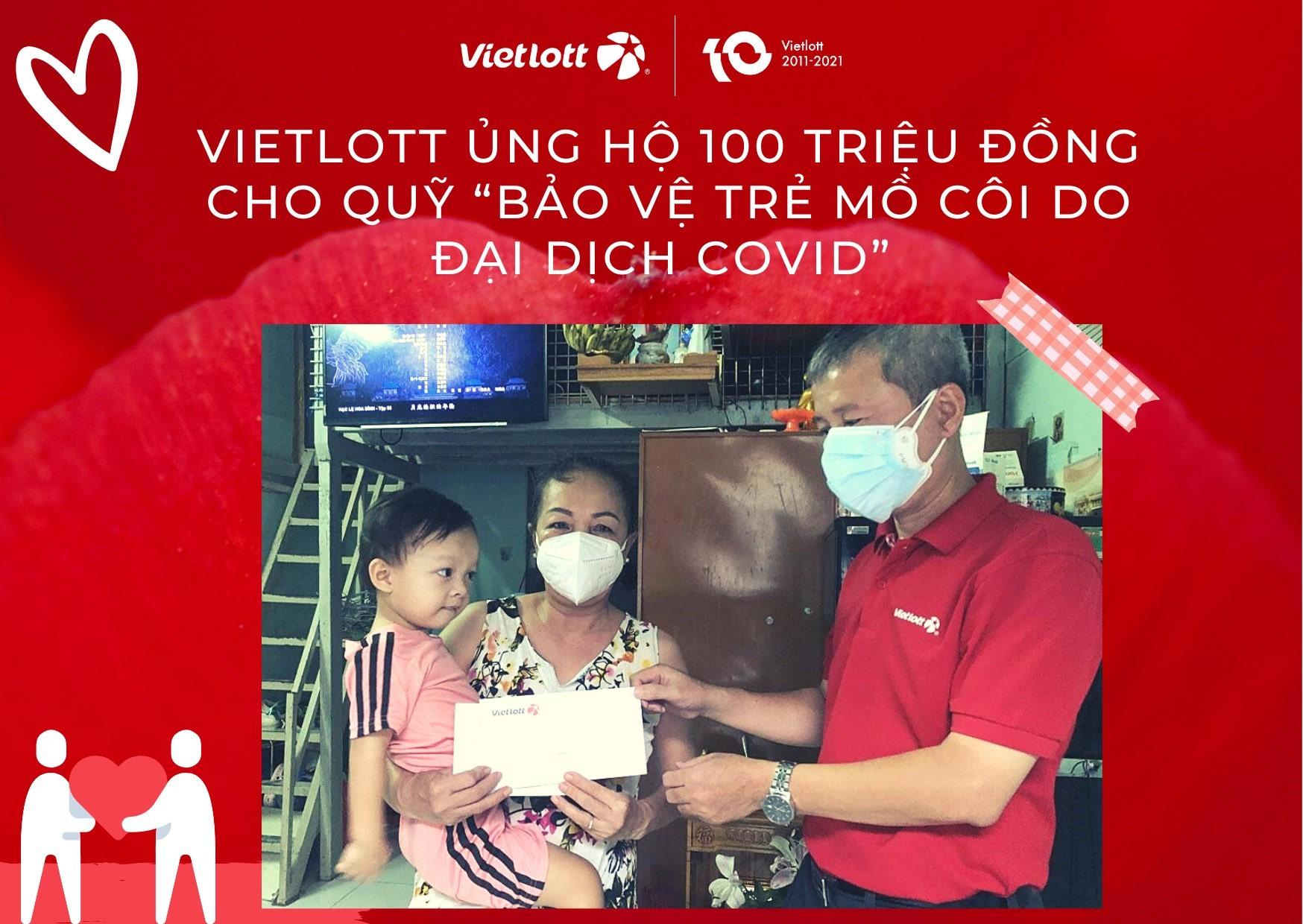 """Vietlott tặng quà trẻ mồ côi do Covid_19 và ủng hộ 100 triệu vào quỹ """"Bảo vệ trẻ em mồ côi do đại dịch Covid"""" của báo Thanh Niên"""