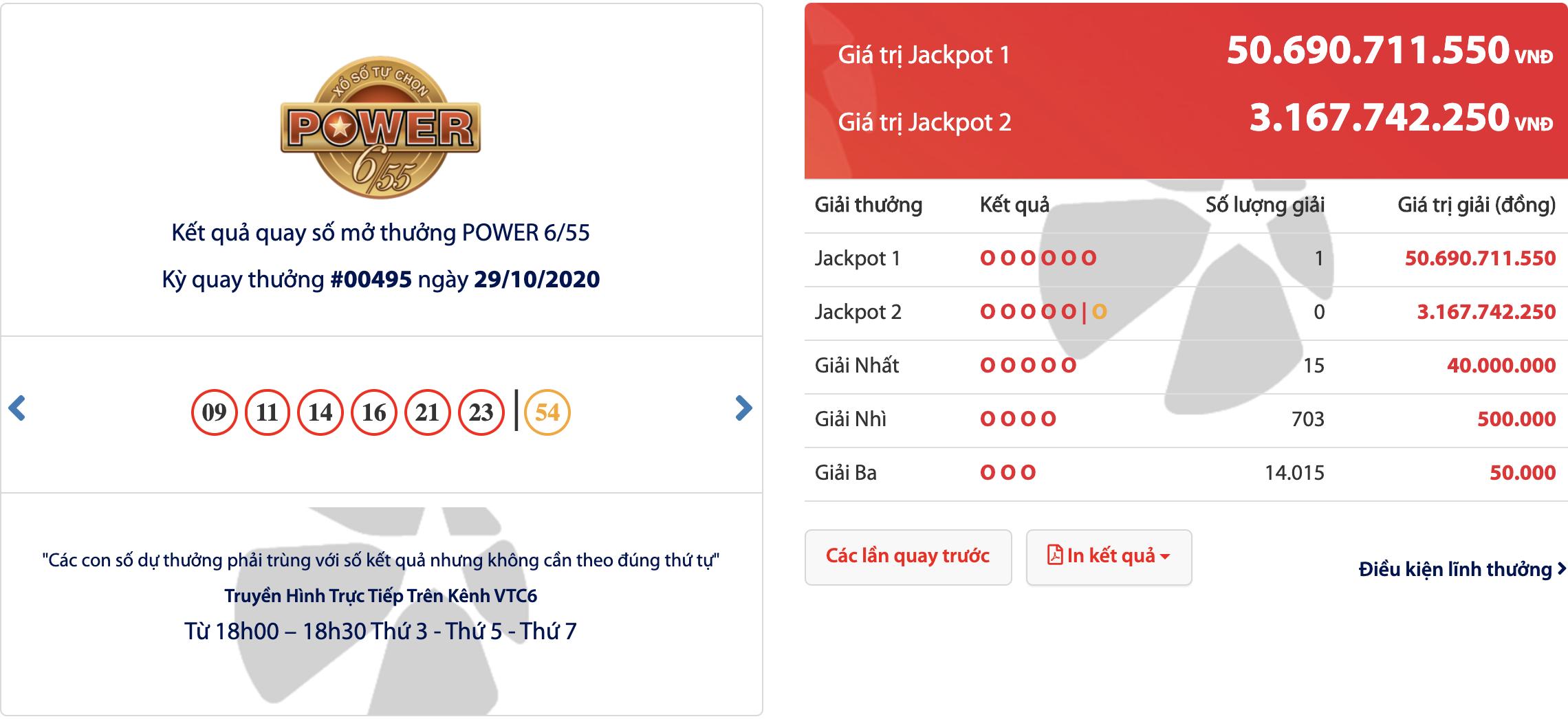 Vé trúng Jackpot Power 6/55 kỳ 00495 hơn 50 tỷ phát hành tại TP. Hồ Chí Minh