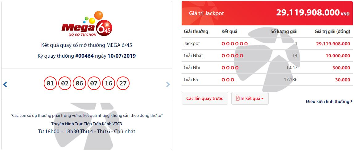 Vé trúng Jackpot Mega 6/45 kỳ #00464 được phát hành tại Hà Nội