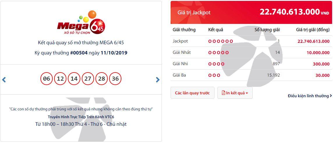 Vé trúng Jackpot Mega 6/45 kỳ 504 tại Tp. Hồ Chí Minh